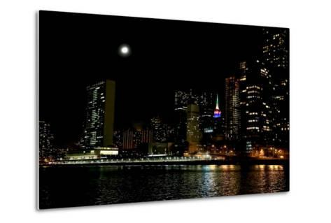 The New York City Skyline Lights Up a December Night-Robbie George-Metal Print