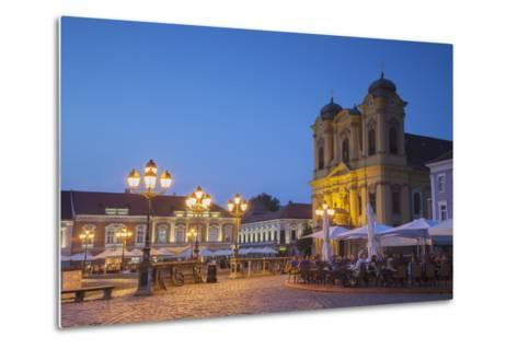 Roman Catholic Cathedral and Outdoor Cafes in Piata Unirii at Dusk-Ian Trower-Metal Print