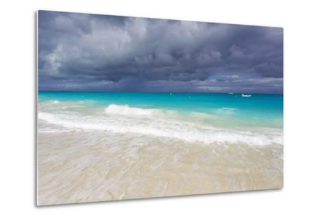 Storm Clouds Roll in over Turquoise Waters and a Beach-Mike Theiss-Metal Print