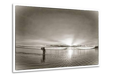 A Woman Walking in Tidal Flats in Front of Molokai South Shore Line-Richard A. Cooke Iii.-Metal Print