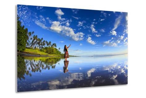 A Hula Dancer in Low Tide Water in Front of Kapuaiwa Palm Grove, Molokai Island-Richard Cooke-Metal Print