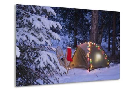 A Tent Is Set Up in the Woods with Christmas Lights and Stocking Near Anchorage, Alaska-Design Pics Inc-Metal Print
