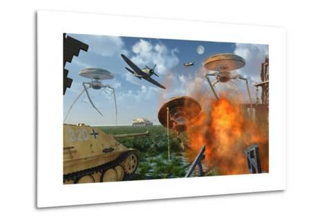 An Alternate Reality Where Allied and German Forces Unite in Fighting an Alien Invasion--Metal Print