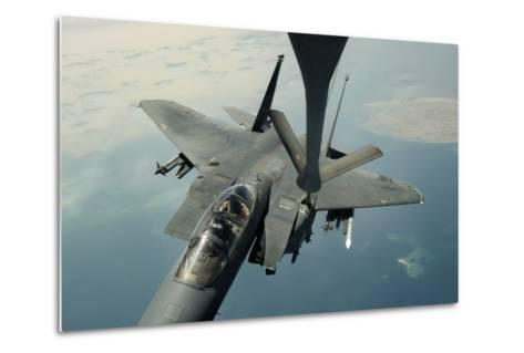 An F-15E Strike Eagle Receives Fuel from a Kc-135R Stratotanker--Metal Print