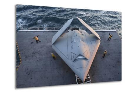 High Angle View of an Unmanned Combat Air System--Metal Print