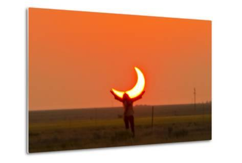 Woman Holds Up Arms as If She Is Holding Up the Annular Solar Eclipse-Mike Theiss-Metal Print