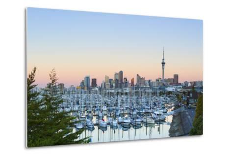 Westhaven Marina and City Skyline Illuminated at Sunset-Doug Pearson-Metal Print
