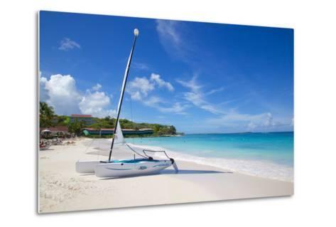 Long Bay and Beach and Hobie Cat, Antigua, Leeward Islands, West Indies, Caribbean, Central America-Frank Fell-Metal Print