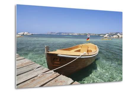 Boat at a Jetty, Palau, Sardinia, Italy, Mediterranean, Europe-Markus Lange-Metal Print