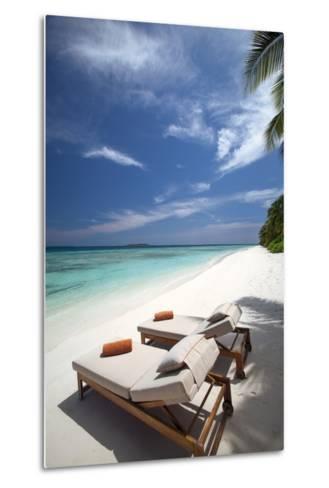 Lounge Chairs on Tropical Beach, Maldives, Indian Ocean, Asia-Sakis Papadopoulos-Metal Print