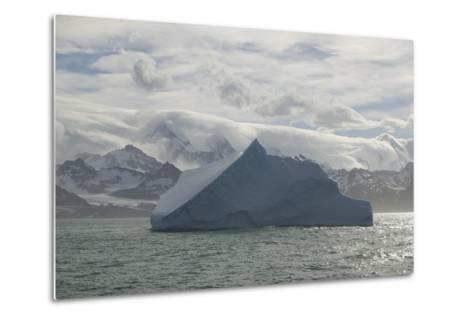 Iceberg with Mountain Range in Background-DLILLC-Metal Print