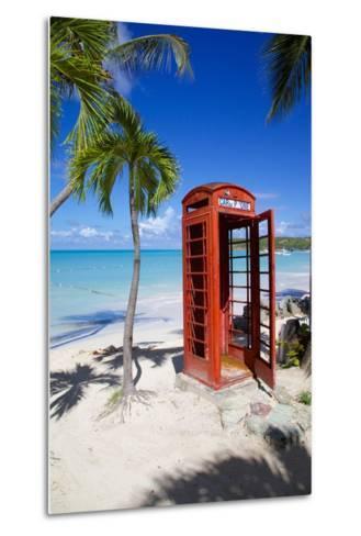 Beach and Red Telephone Box-Frank Fell-Metal Print