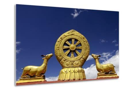 A Golden Dharma Wheel and Deer Sculptures-Simon Montgomery-Metal Print