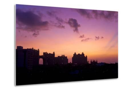 Atlantis Resort in Silhouette During a Purple Sunset-Mike Theiss-Metal Print