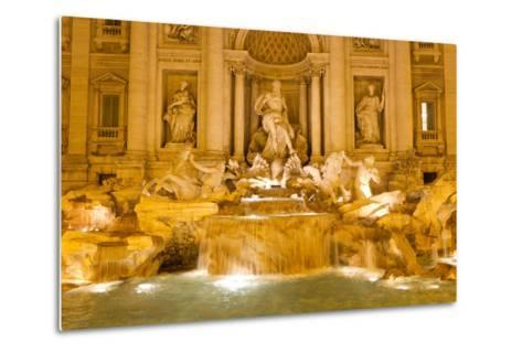 The Trevi Fountain Illuminated at Night-Mike Theiss-Metal Print