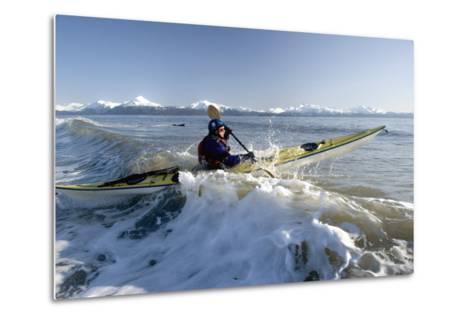 Man Paddles Kayak in Surf Kachemak Bay Homer Ak Kp Spring-Design Pics Inc-Metal Print