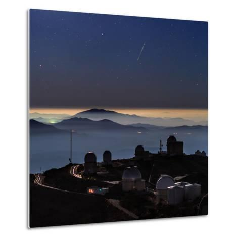 A Colorful Meteor Photographed Above Telescope Domes and Inversion Layer-Babak Tafreshi-Metal Print