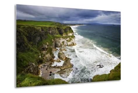 Churning Surf at White Rocks at Portrush on the North Coast of Northern Ireland-Chris Hill-Metal Print