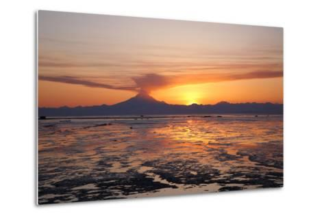 Ash Cloud Rises from Mt. Redoubt at Sunset During Low Tide Near Ninilchik, Alaska-Design Pics Inc-Metal Print