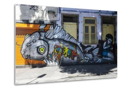 Graffiti Art Work on Houses in Lapa, Rio De Janeiro, Brazil, South America-Michael Runkel-Metal Print