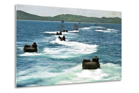 Amphibious Assault Vehicles Approach Hat Yao Beach, Thailand--Metal Print