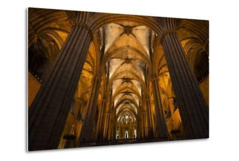 A View of the Columns and Vaulted Ceiling of the Catedral De Barcelona-Michael Melford-Metal Print