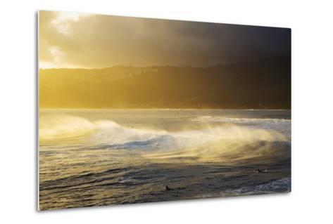 Crashing Wave and Ocean Spray Illuminated by Evening Light-Design Pics Inc-Metal Print