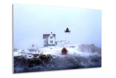 Maine's Nubble Lighthouse Shines on a Cold Winter's Day-Robbie George-Metal Print