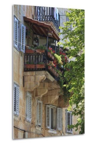 Flower Covered Balcony on Old Stone House, Bol, Brac Island, Dalmatian Coast, Croatia, Europe-John Miller-Metal Print