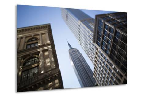 Tilt Shift Lens Image - Looking Up at Sykscrapers in Manhattan, New York. USA-Design Pics Inc-Metal Print