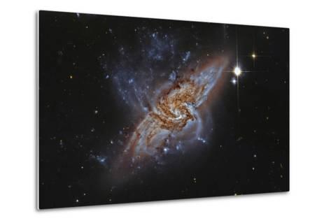 Ngc 3314, a Pair of Overlapping Spiral Galaxies--Metal Print
