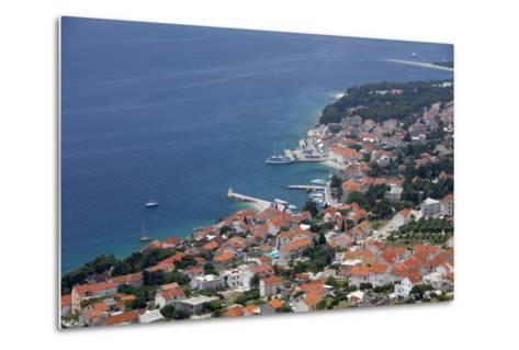 High View of Bol and Harbour, Brac Island, Dalmatian Coast, Croatia, Europe-John Miller-Metal Print