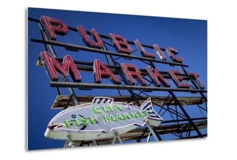 Pike Place Market sign near the waterfront, Seattle, Washington, USA-Brian Jannsen-Metal Print