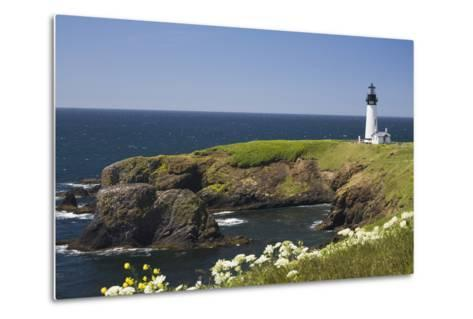 White Lighthouse on the Ocean with Blue Sky and Wildflowers, Newport, Oregon-Design Pics Inc-Metal Print