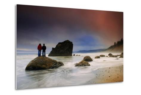 A Couple Stands on a Rock at Sunset on Ruby Beach, Olympic National Park, Washington-Keith Ladzinski-Metal Print
