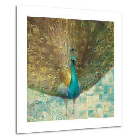 Teal Peacock on Gold-Danhui Nai-Metal Print
