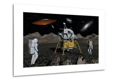 Apollo Astronauts Coming into Contact with an Alien Ufo While on the Moon--Metal Print