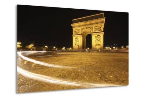 Traffic Light Trails around the Arc De Triomphe; Paris France-Design Pics Inc-Metal Print