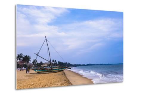 Traditional Outrigger Fishing Boat (Oruva), Negombo Beach, Negombo, Sri Lanka, Asia-Matthew Williams-Ellis-Metal Print