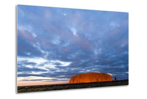 A Cloud Bank from an Approaching Storm Turns Magenta as it Shrouds Uluru and the Desert Plain-Jason Edwards-Metal Print