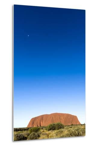An Enormous Clear Blue Sky Rises Above the Desert Plain and Uluru-Jason Edwards-Metal Print