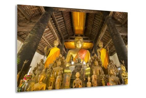 Buddha Statues Inside Wat Visoun, or Commonly known as That Makmo-Michael Melford-Metal Print
