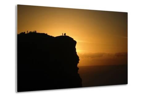 Sunset at the Cliffs of Moher on the West Coast of Ireland-Chris Hill-Metal Print
