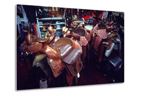 Leather Saddles in Ranchwear Store, Cheyenne, Wyoming, Usa, 1979-Alain Le Garsmeur-Metal Print