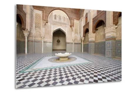 Ornate Islamic Tile Work and Relief Sculpture at Medersa Attarine-Erika Skogg-Metal Print