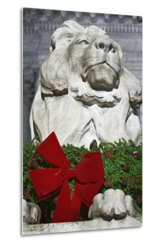 New York Public Library Lion Decorated with a Christmas Wreath during the Holidays.-Jon Hicks-Metal Print