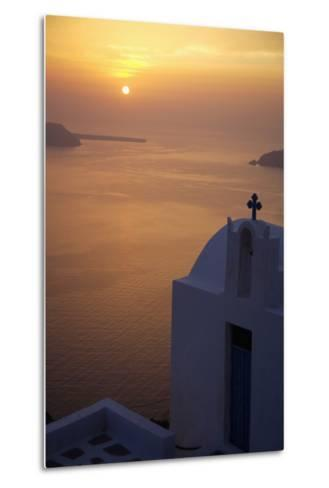 Whitewashed Chapel by Sea at Sunset-Design Pics Inc-Metal Print