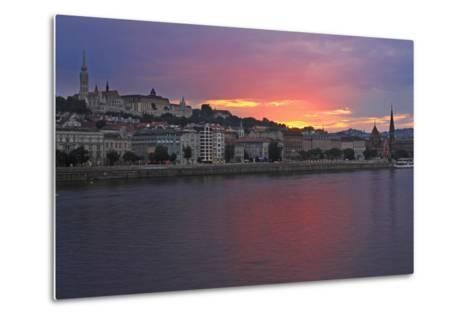 Sunset over Danube River; Budapest Hungary-Design Pics Inc-Metal Print