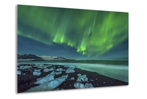Aurora Borealis over the Ice Beach Near Jokulsarlon, Iceland--Metal Print