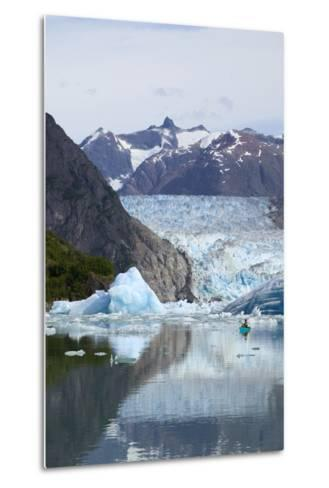 Sea Kayaker Near S.Sawyer Glacier Tracy Arm Se Ak Summer Fords-Terror Wilderness Area-Design Pics Inc-Metal Print